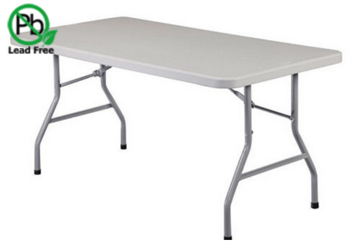 6' White plastic rectangle tables: